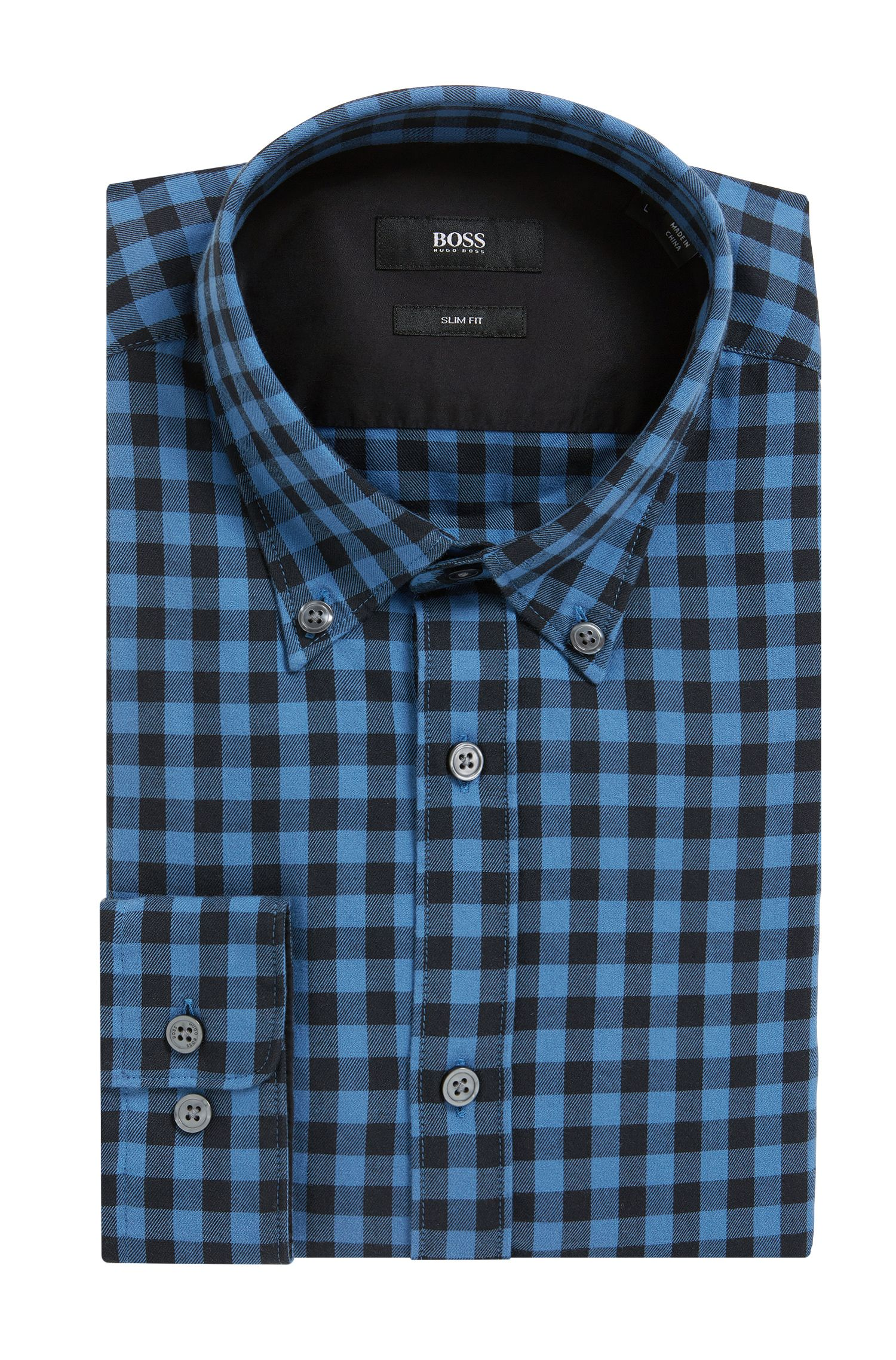 Gingham Cotton Button Down Shirt, Slim Fit | Rod