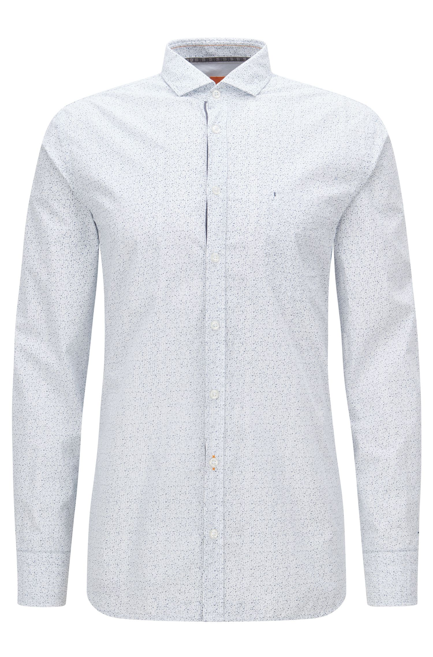 Speckled Cotton Button Down Shirt, Slim Fit | Cattitude