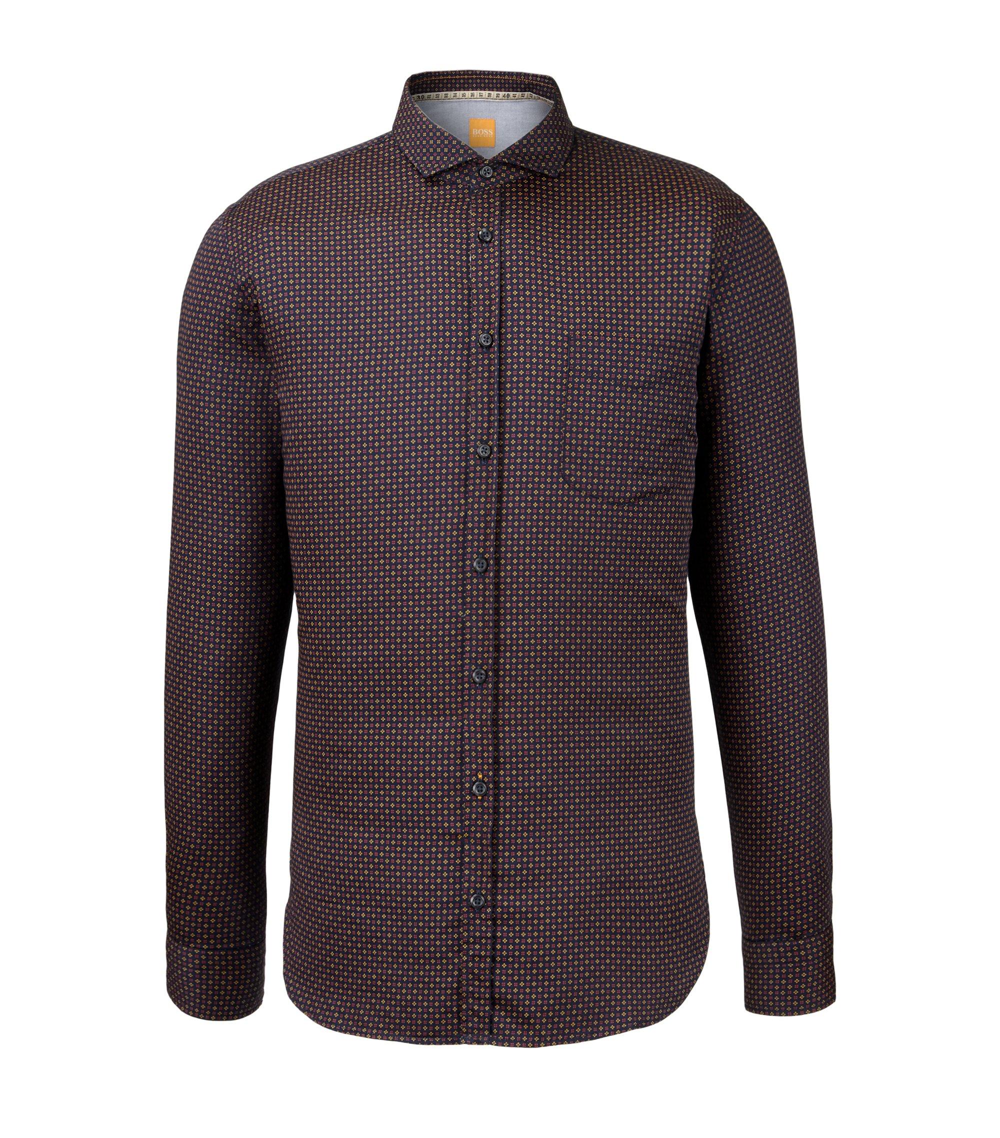 Speckled Cotton Button Down Shirt, Slim Fit | Cattitude, Dark Blue