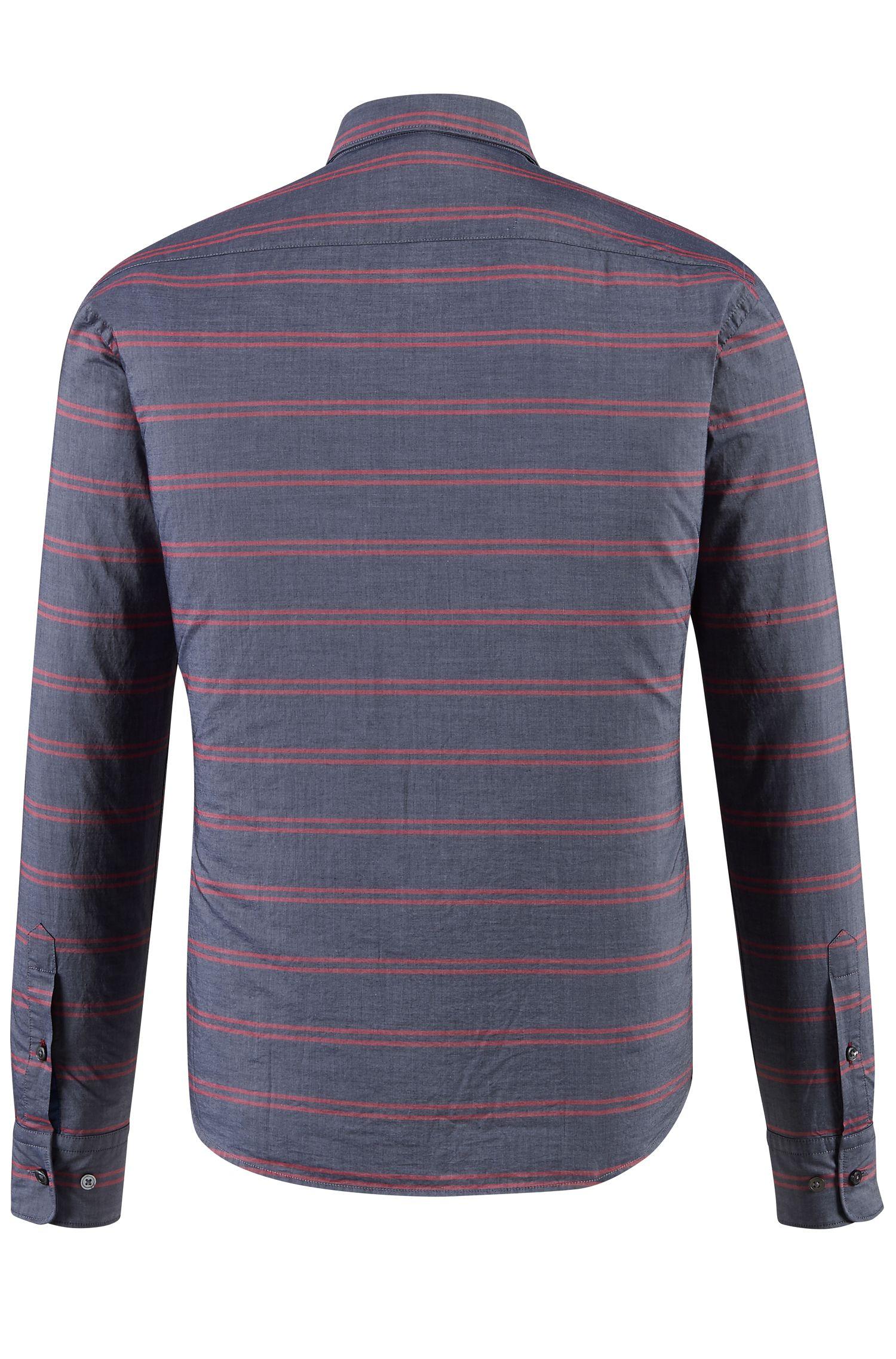 Striped Cotton Button Down Shirt, Slim Fit | Reid F, Red