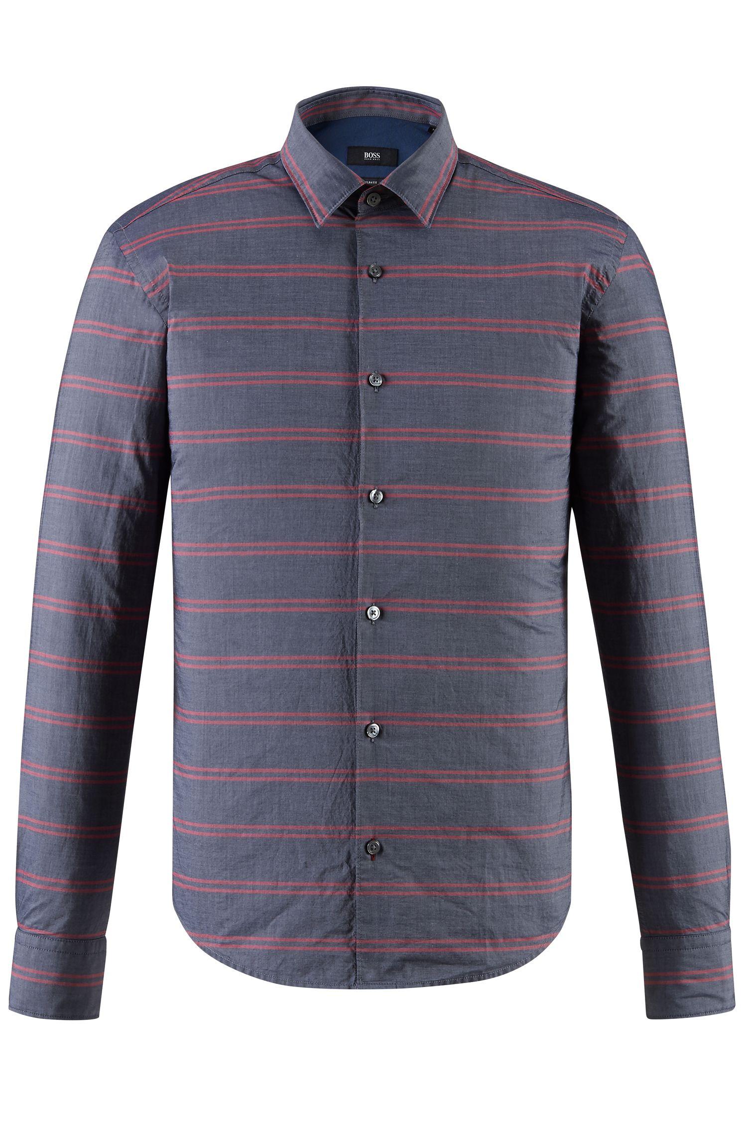 Striped Cotton Button Down Shirt, Slim Fit   Reid F