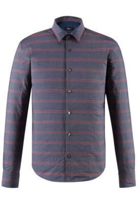Striped Cotton Button Down Shirt, Slim Fit | Reid F, Red