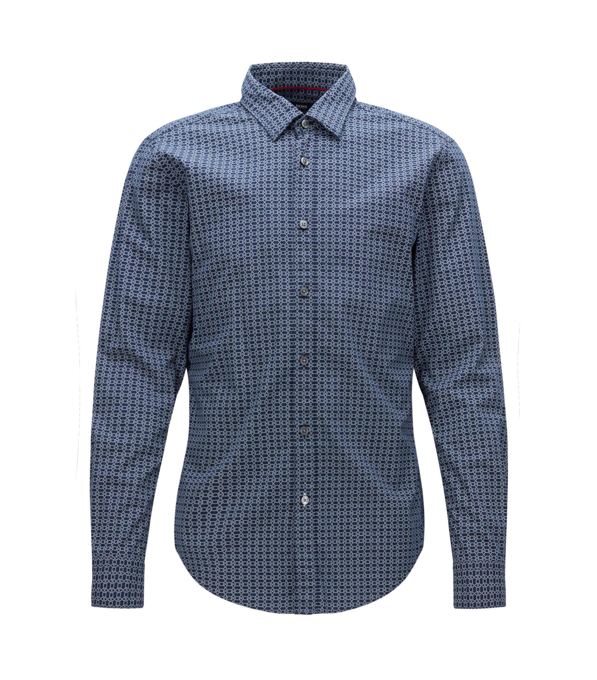 Nautical Cotton Button Down Shirt, Slim Fit | Ronni, Dark Blue