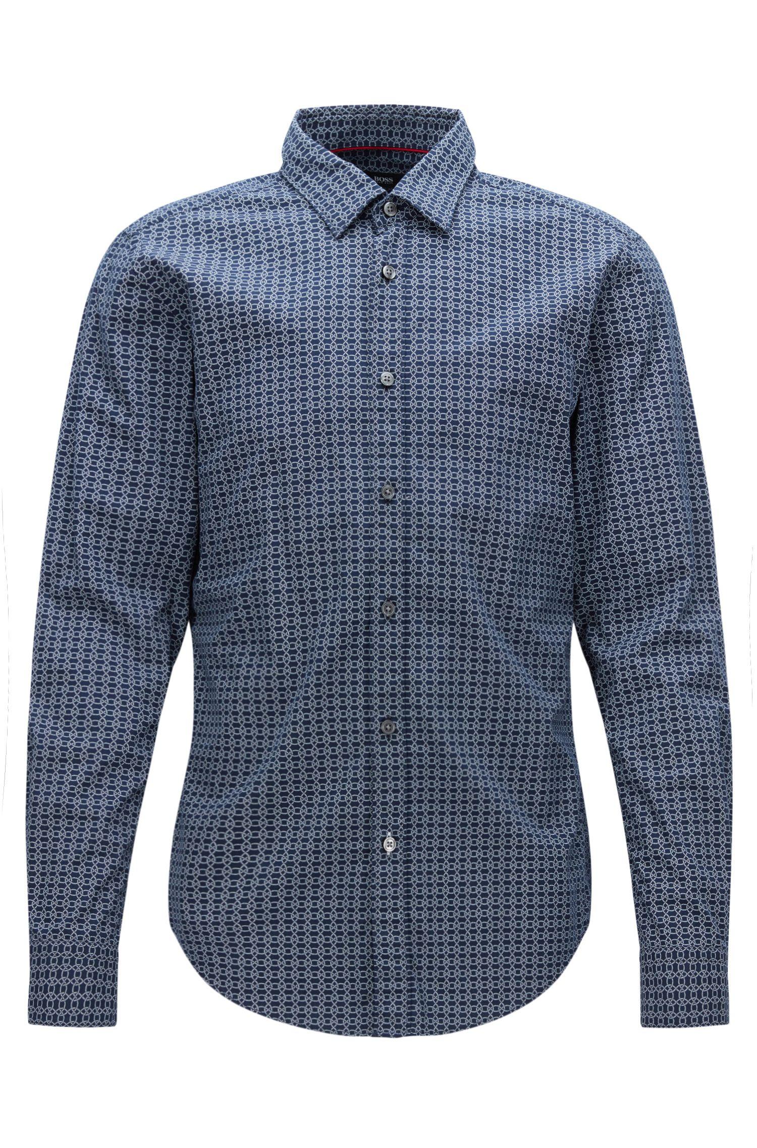 Nautical Cotton Button Down Shirt, Slim Fit | Ronni