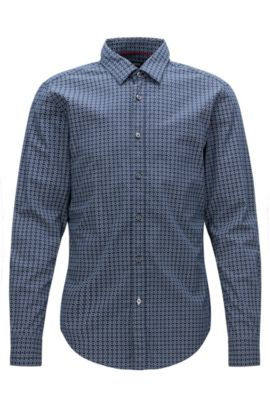 Nautical Cotton Button Down Shirt, Slim Fit | Ronni, Dark Blue