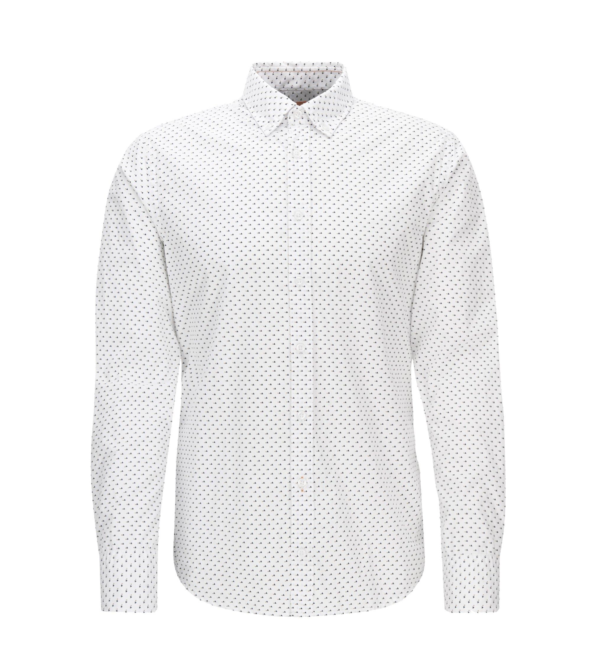 Geometric Cotton Button Down Shirt, Slim Fit | Epreppy, White