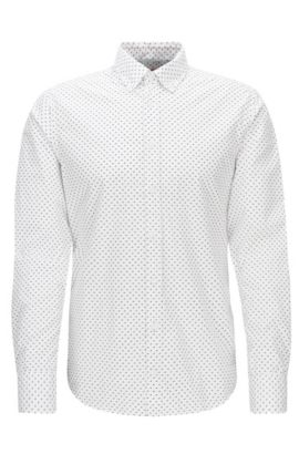 'Epreppy' | Slim Fit, Geometric Cotton Button Down Shirt, White