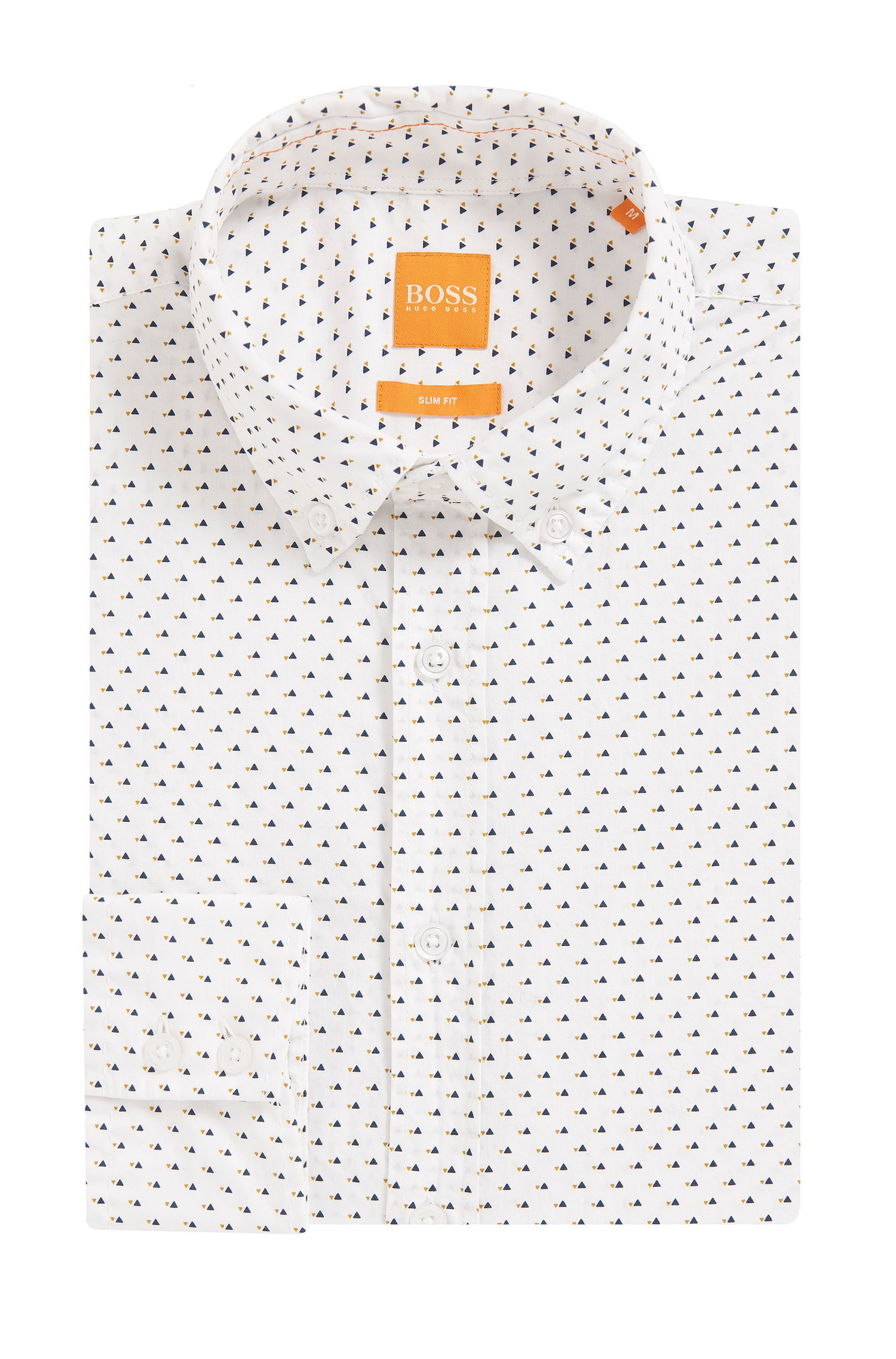Geometric Cotton Button Down Shirt, Slim Fit   Epreppy