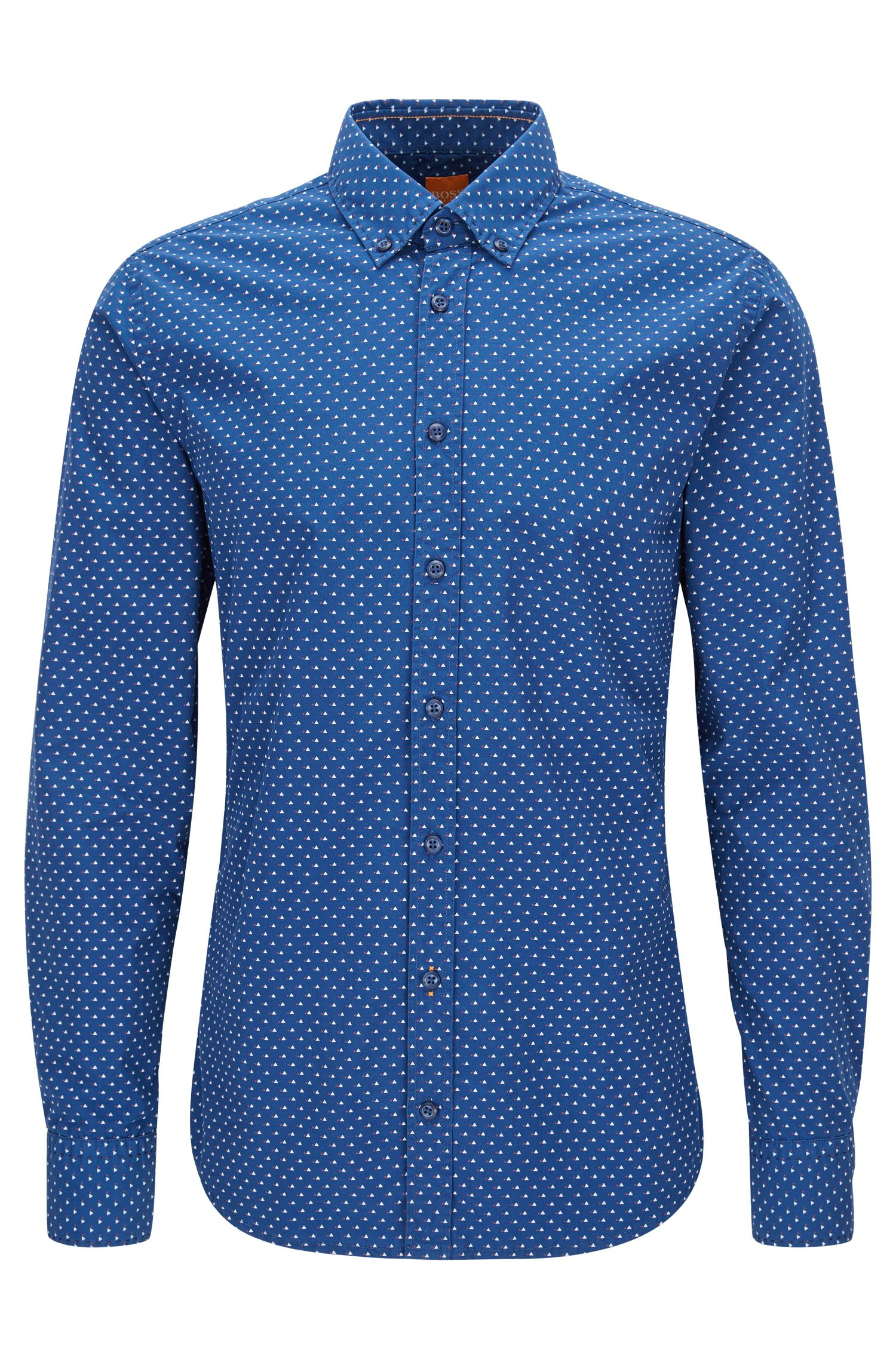Geometric Cotton Button Down Shirt, Slim Fit | Epreppy, Blue
