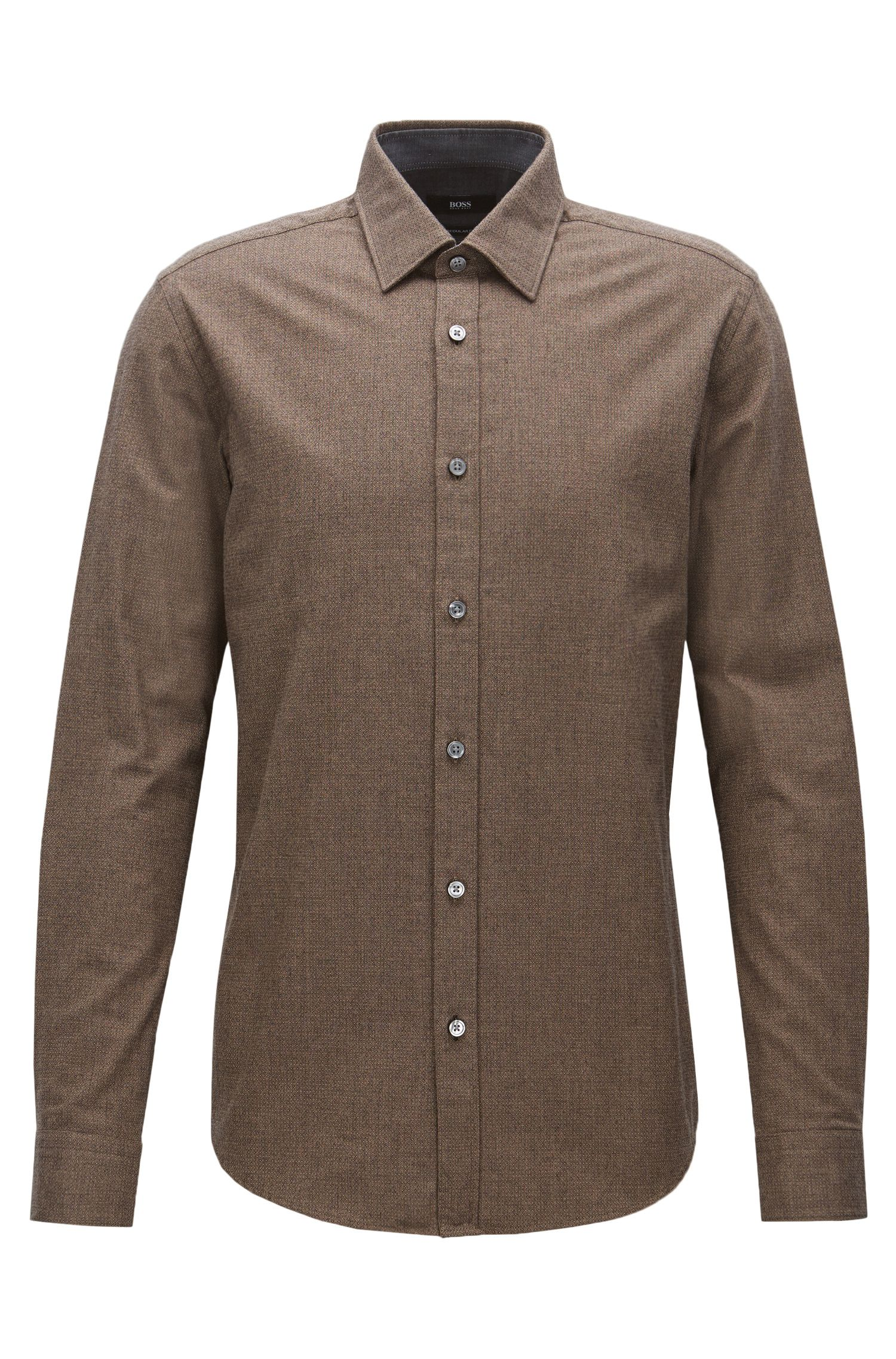 'Lukas' | Regular Fit, Micro-Pattern Cotton Flannel Button Down Shirt