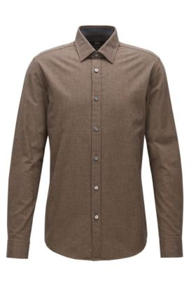 'Lukas' | Regular Fit, Micro-Pattern Cotton Flannel Button Down Shirt, Khaki