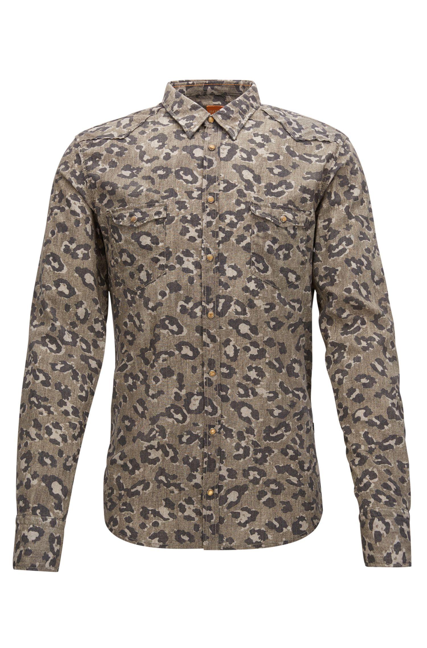 'Erodeo' | Slim Fit, Leopard-Print Cotton Button Down Shirt, Open Beige