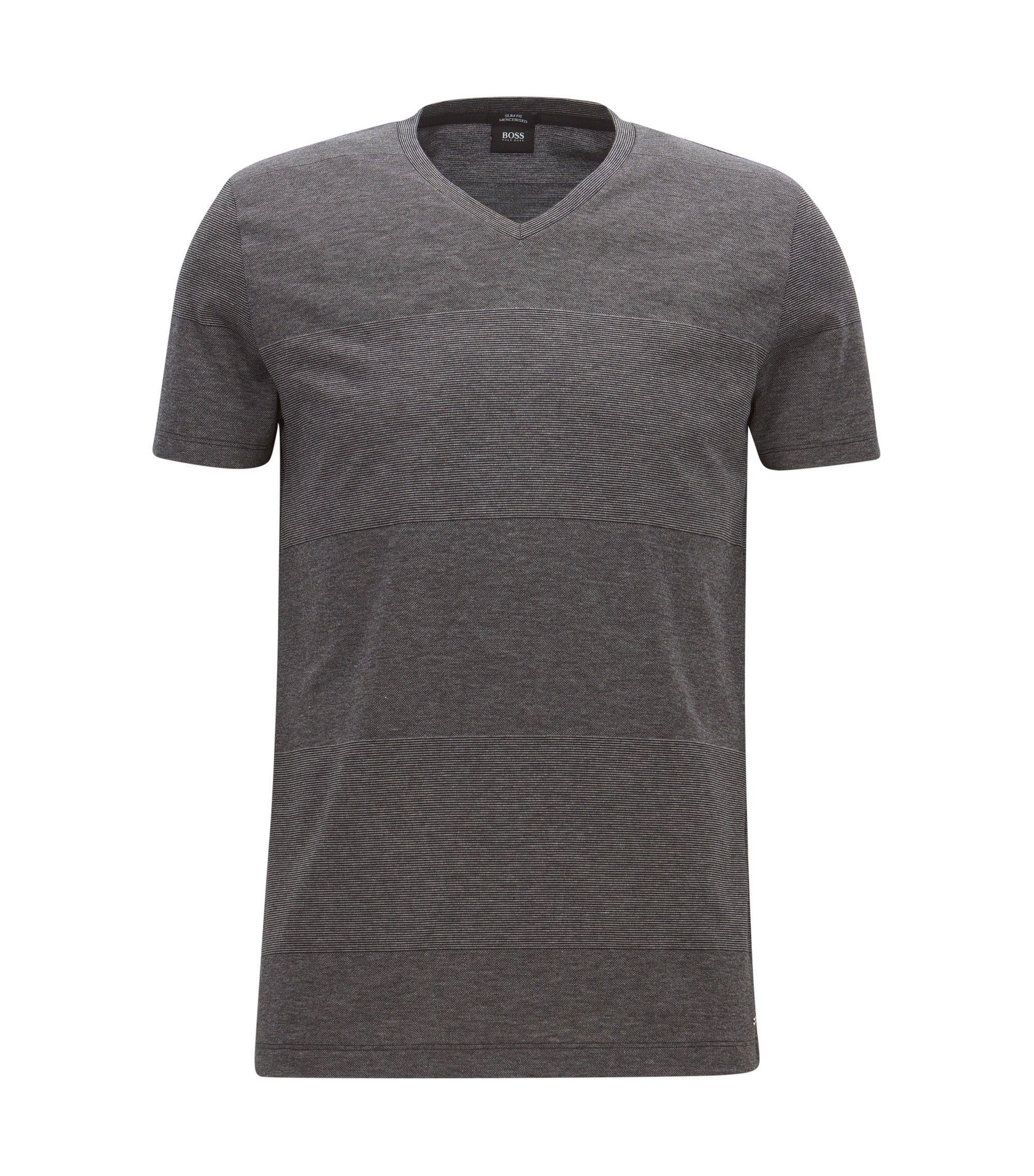 Striped Mercerized Cotton T-Shirt   Teal, Black