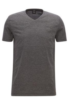 Striped Mercerized Cotton T-Shirt | Teal, Black