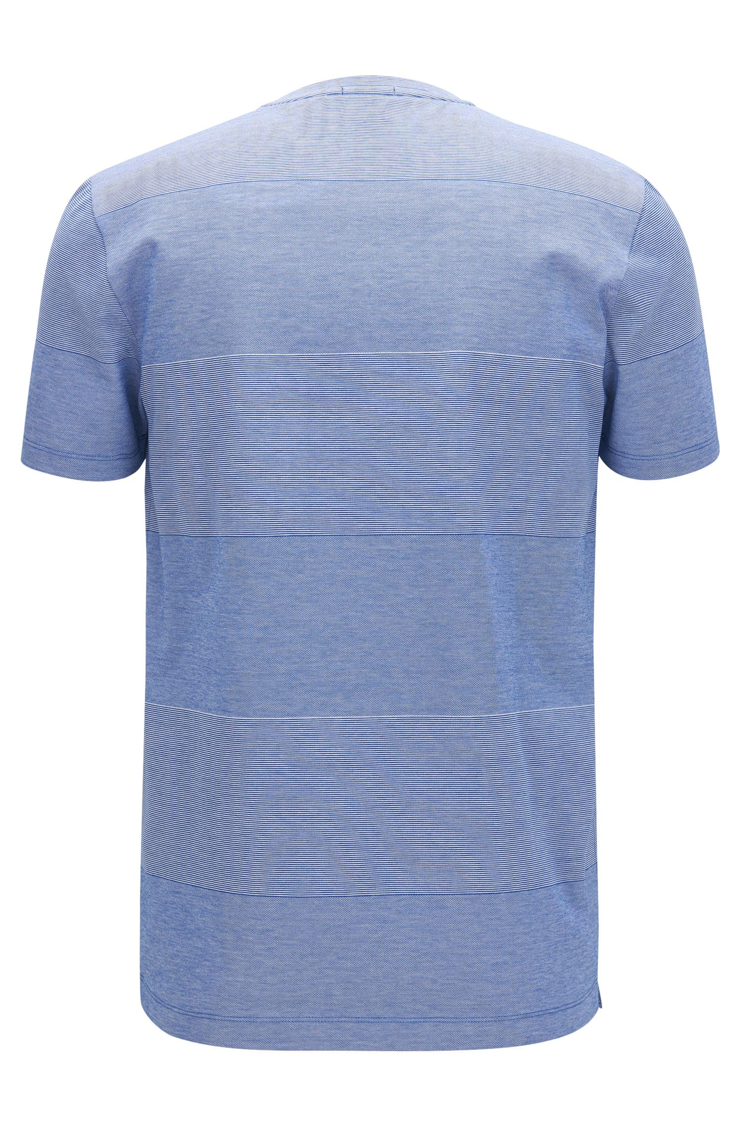 Striped Mercerized Cotton T-Shirt | Teal