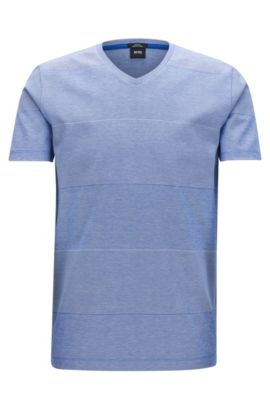 Striped Mercerized Cotton T-Shirt | Teal, Open Blue