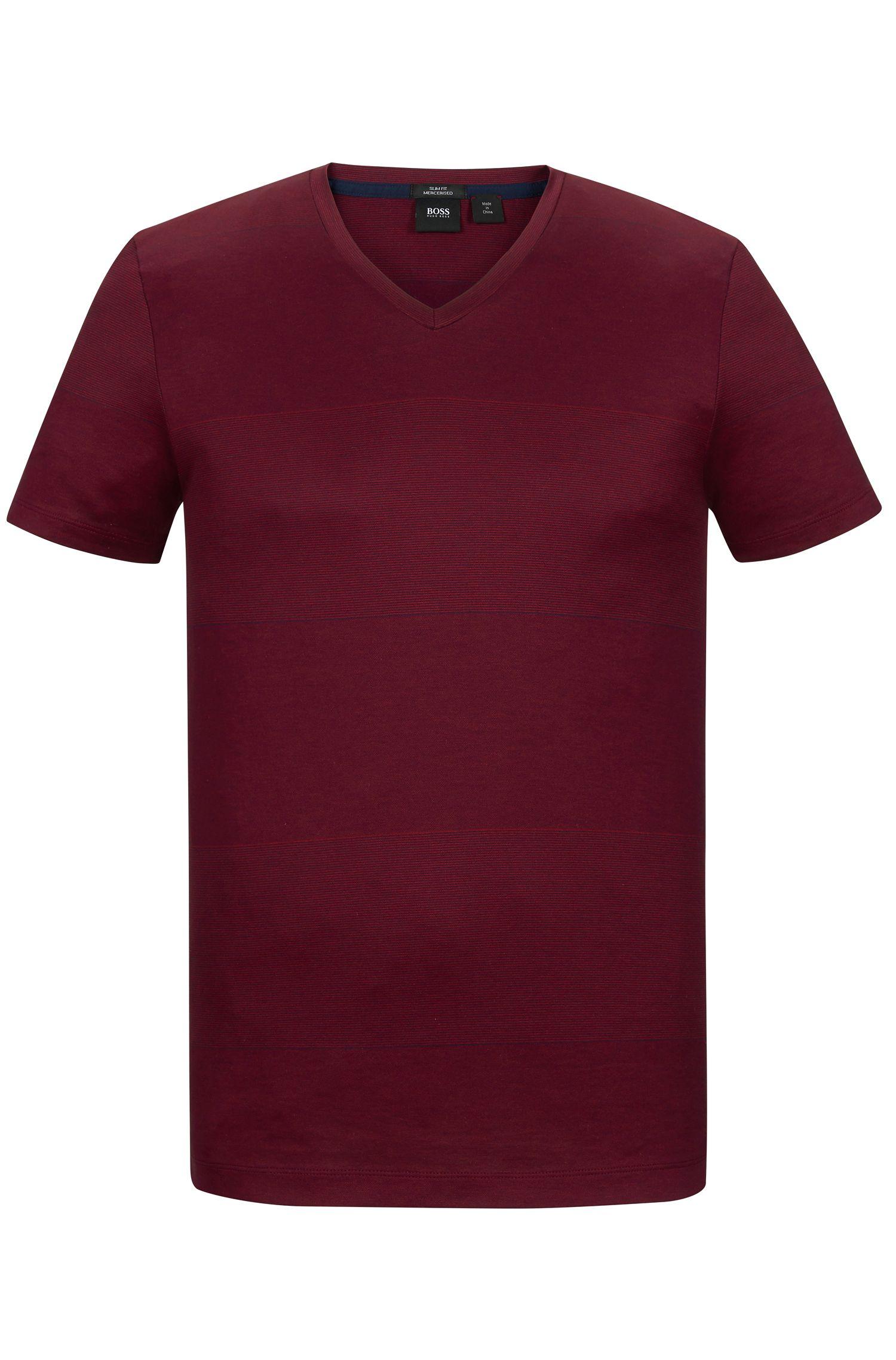 Striped Mercerized Cotton T-Shirt   Teal