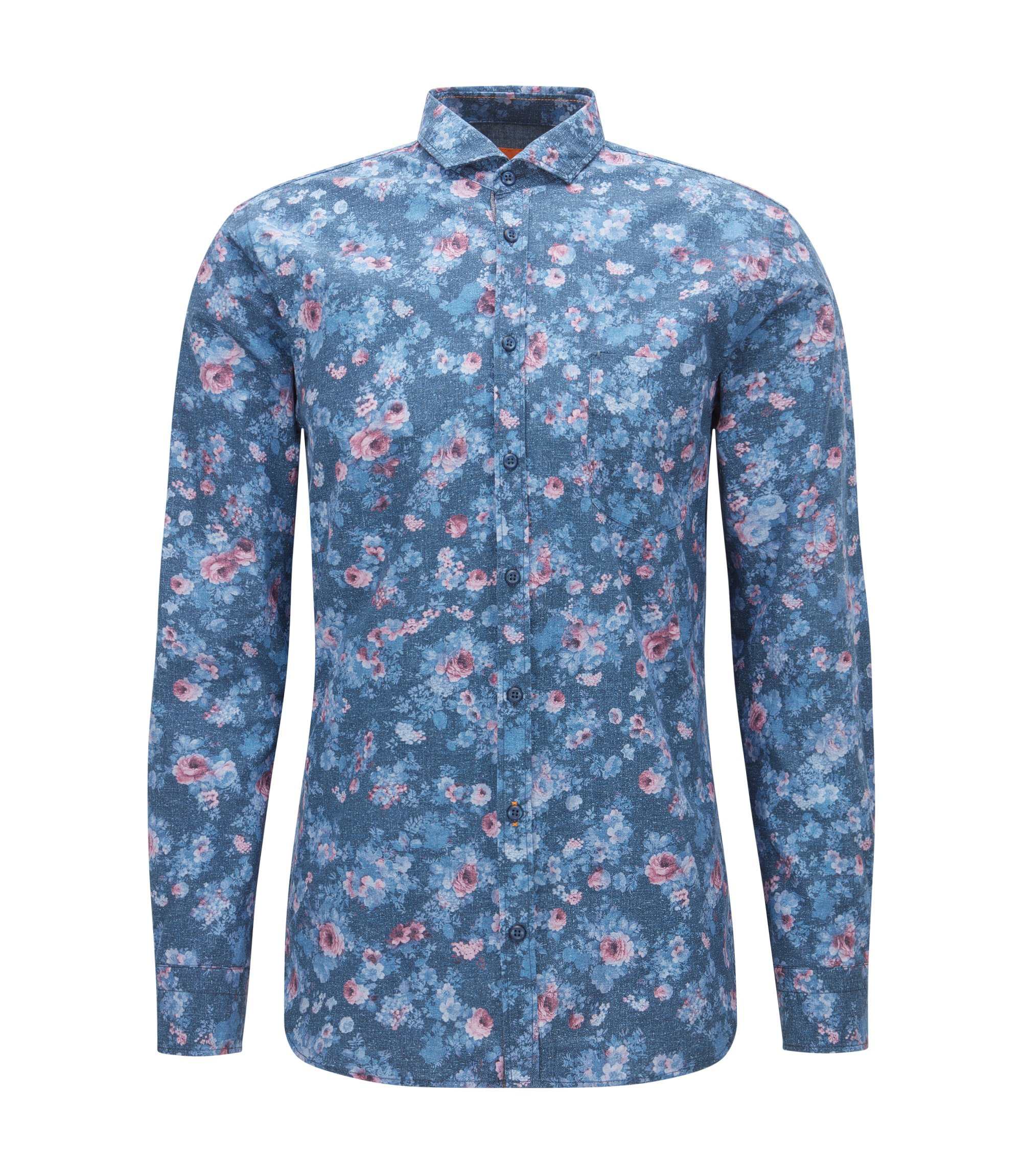 Floral Cotton Button Down Shirt, Slim Fit | Cattitude, Dark Blue