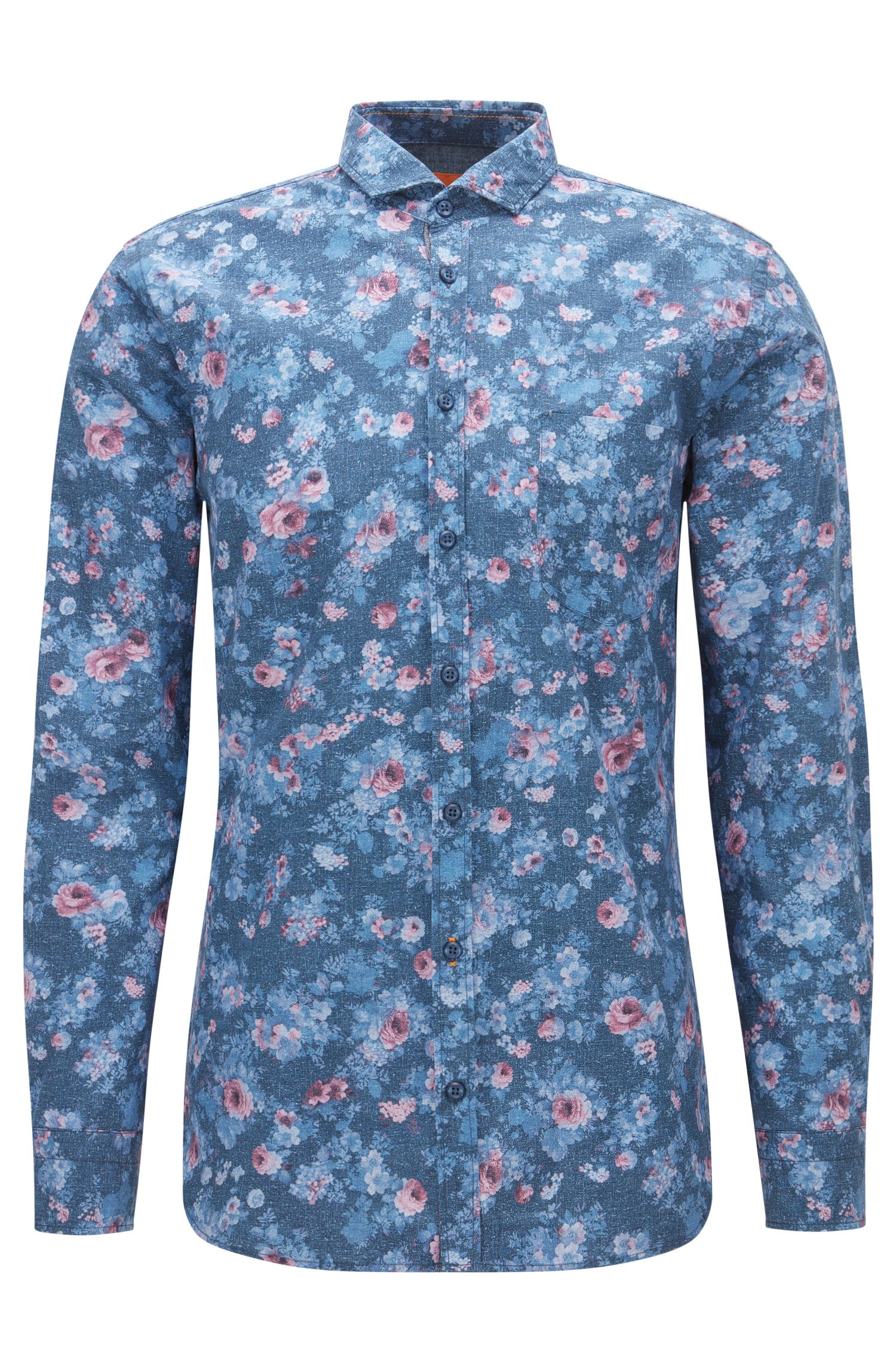 Floral Cotton Button Down Shirt, Slim Fit | Cattitude, Dark Blue