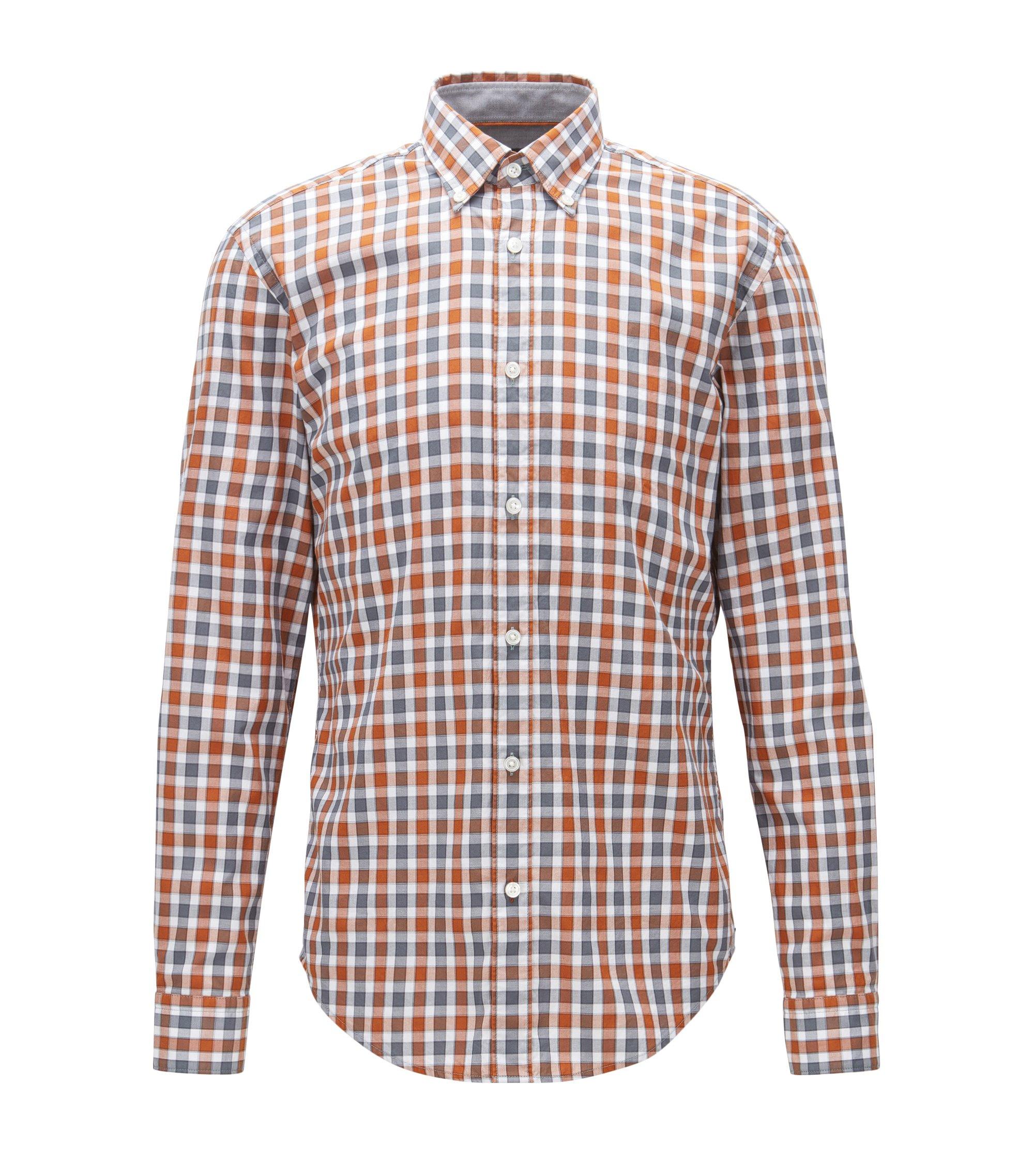 Plaid Cotton Button Down Shirt, Slim Fit   Rod, Brown