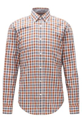 Plaid Cotton Button Down Shirt, Slim Fit | Rod, Brown