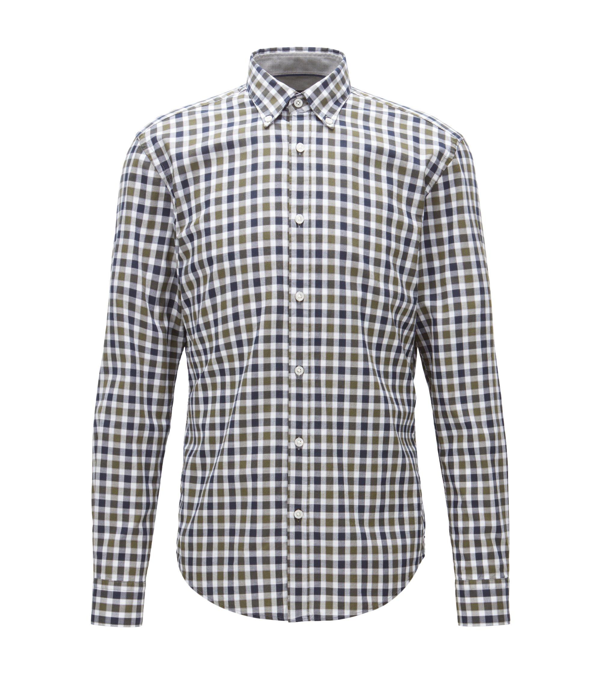 Plaid Cotton Button Down Shirt, Slim Fit | Rod, Open Green