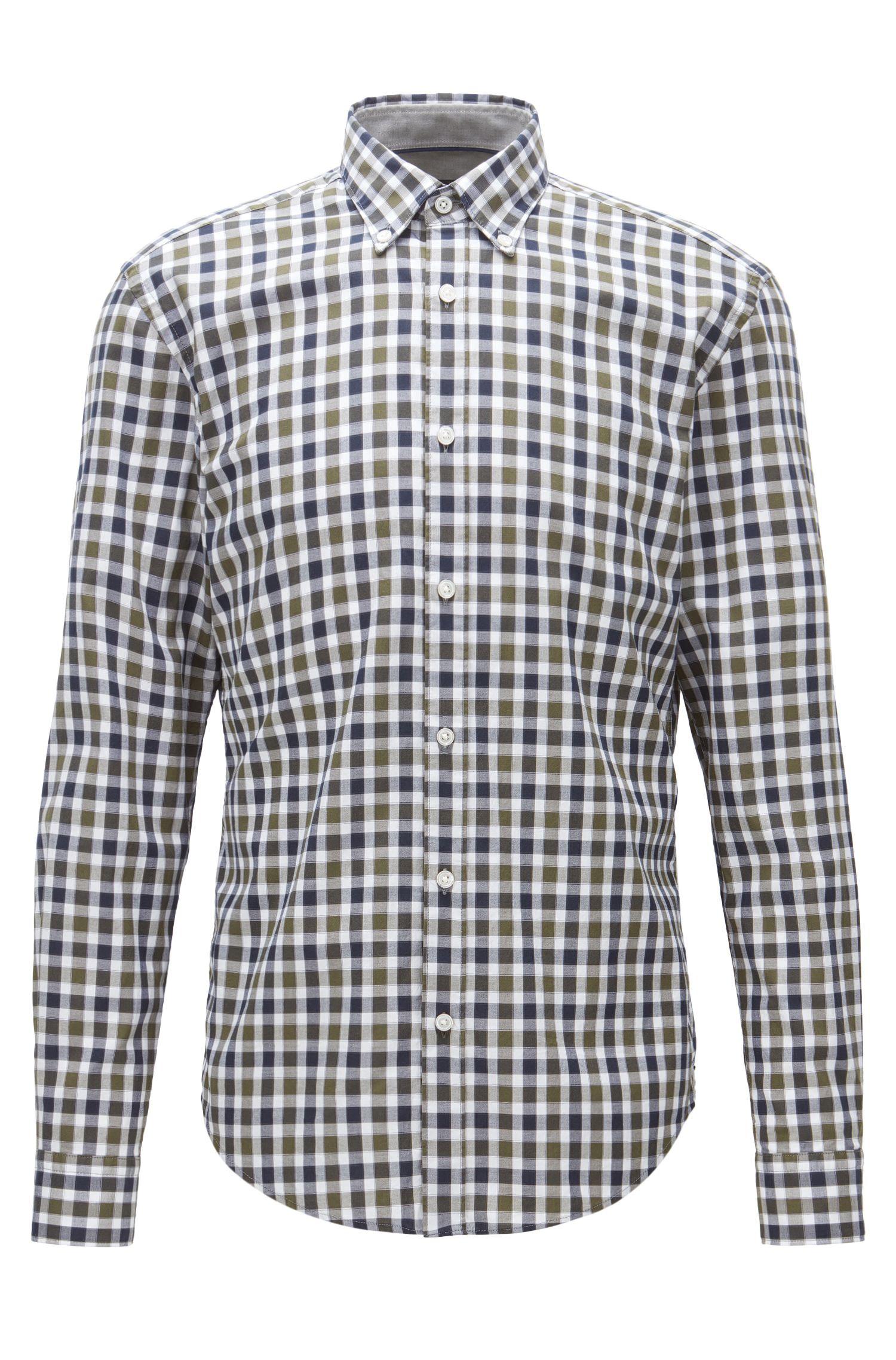 Plaid Cotton Button Down Shirt, Slim Fit | Rod