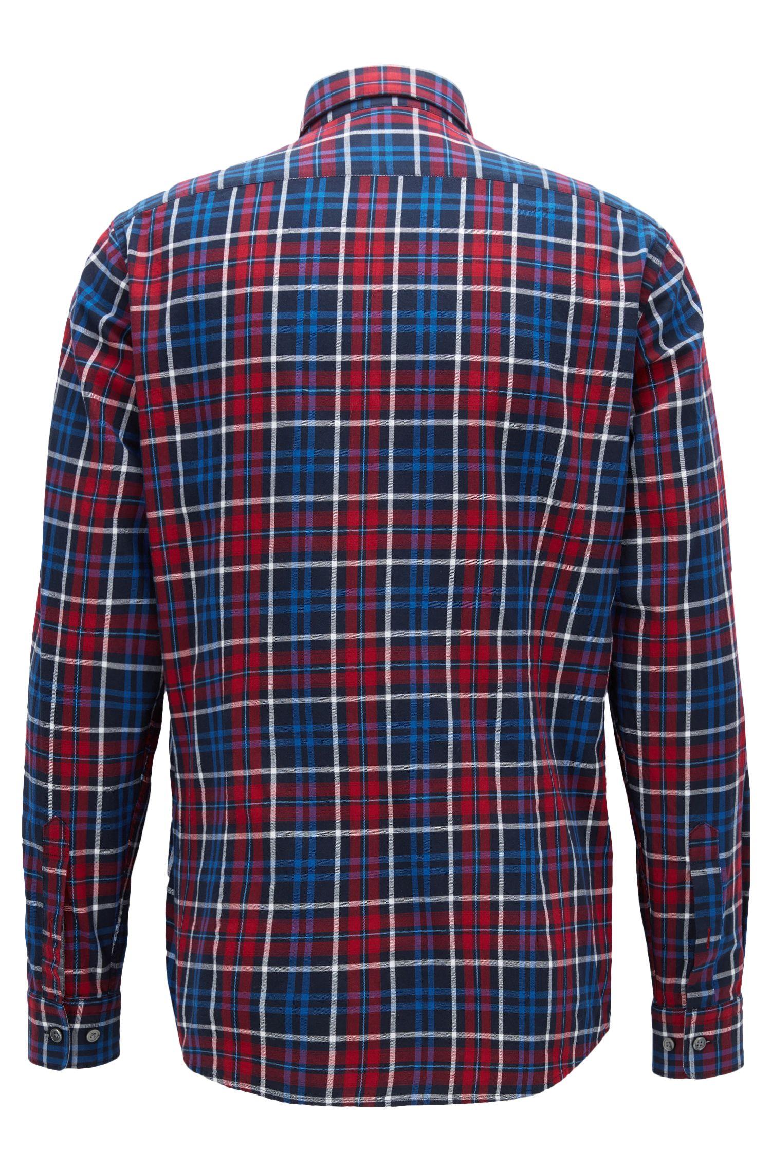 Plaid Cotton Button Down Shirt, Regular Fit   Lod