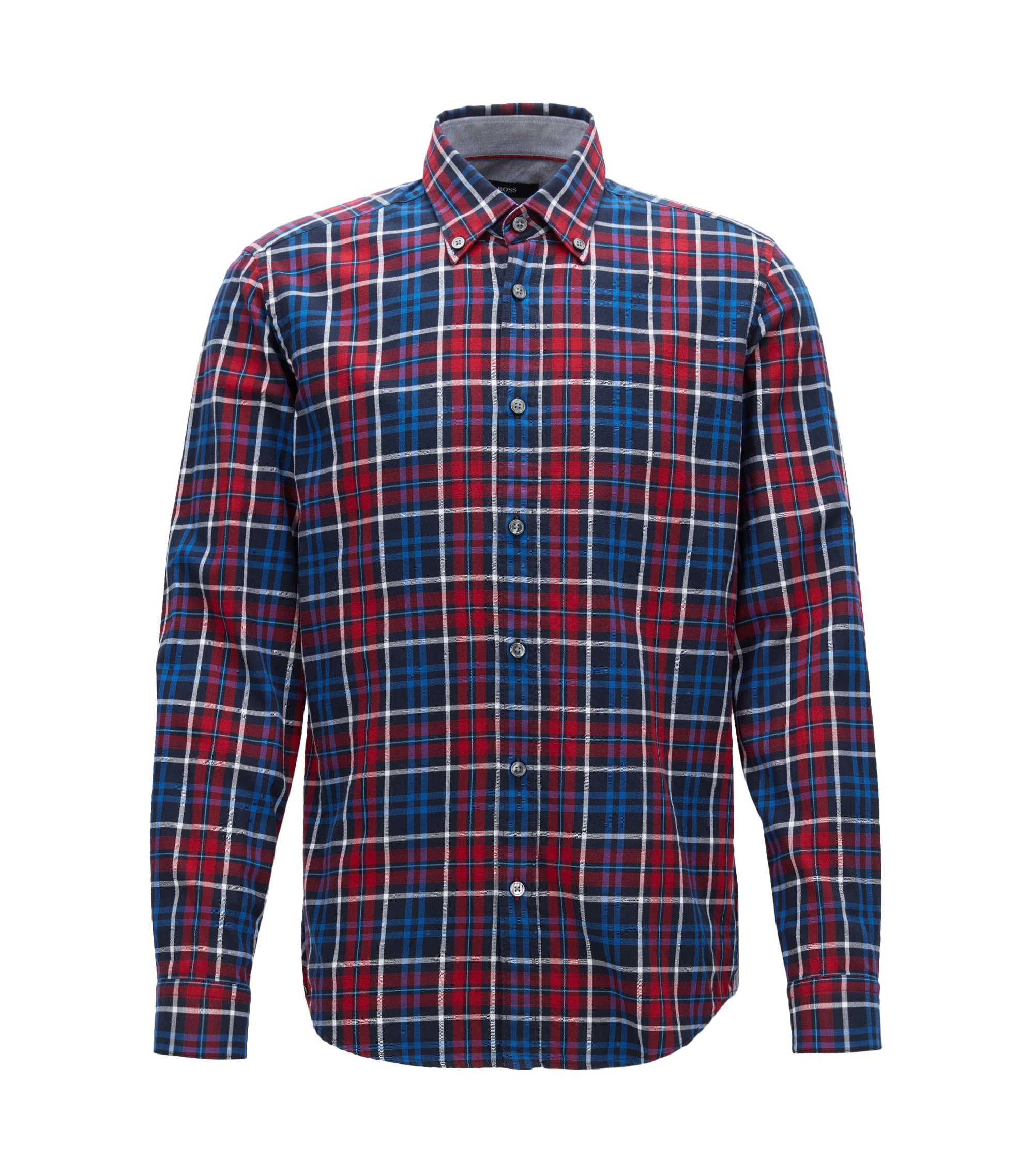 Plaid Cotton Button Down Shirt, Regular Fit | Lod, Red