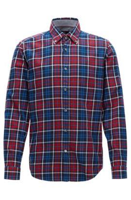 'Lod' | Regular Fit, Plaid Cotton Button Down Shirt, Red