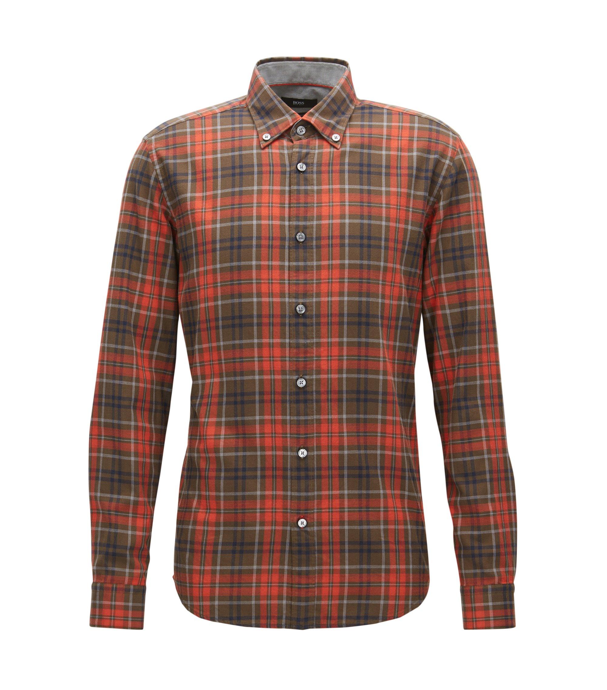 Plaid Cotton Button Down Shirt, Regular Fit | Lod, Dark Orange