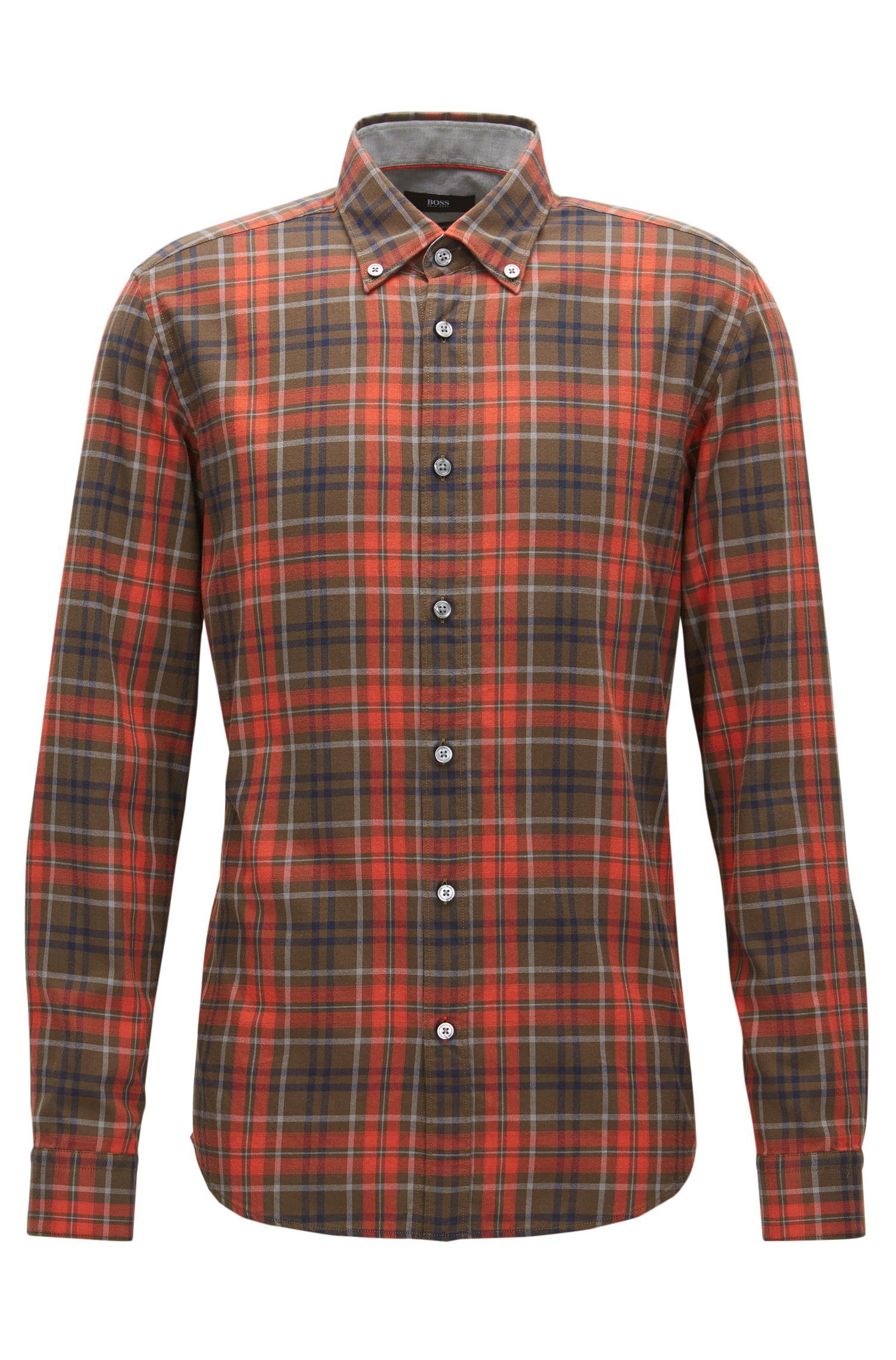 Plaid Cotton Button Down Shirt, Regular Fit | Lod
