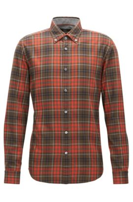 Plaid Cotton Button Down Shirt, Regular Fit | Lod, Dark Orange