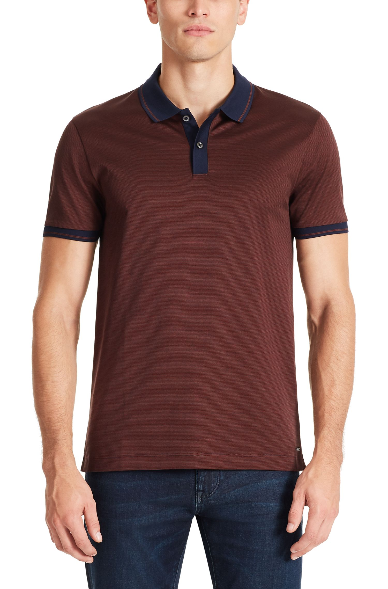 Mercerized Cotton Polo Shirt, Slim Fit | Phillipson, Brown