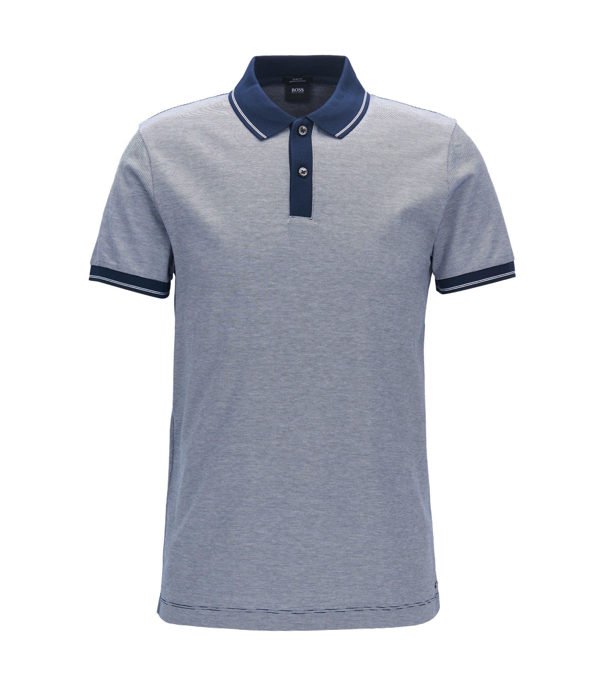 Mercerized Cotton Polo Shirt, Slim Fit | Phillipson, Dark Blue