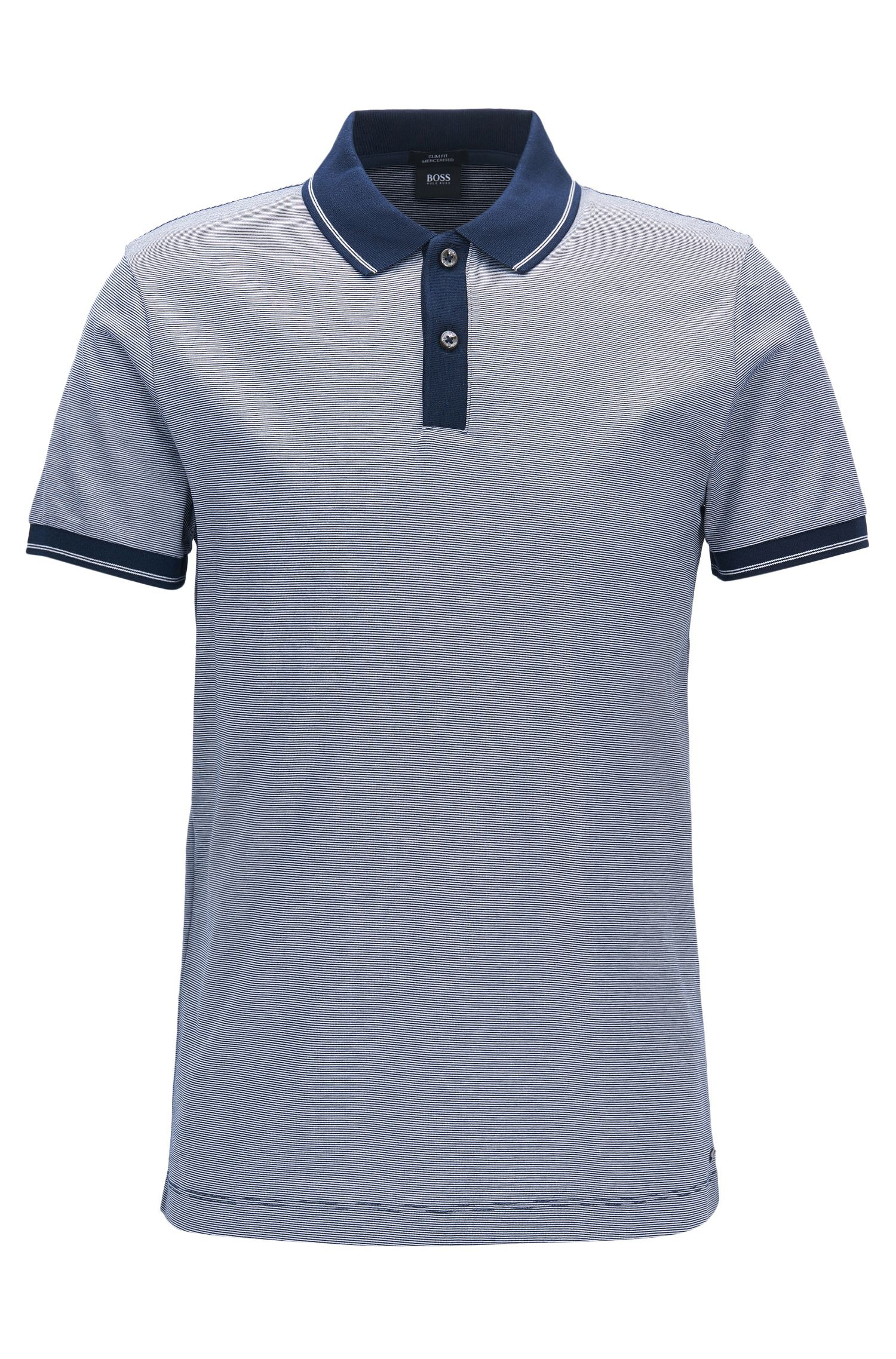 Mercerized Cotton Polo Shirt, Slim Fit | Phillipson, Dark Blue
