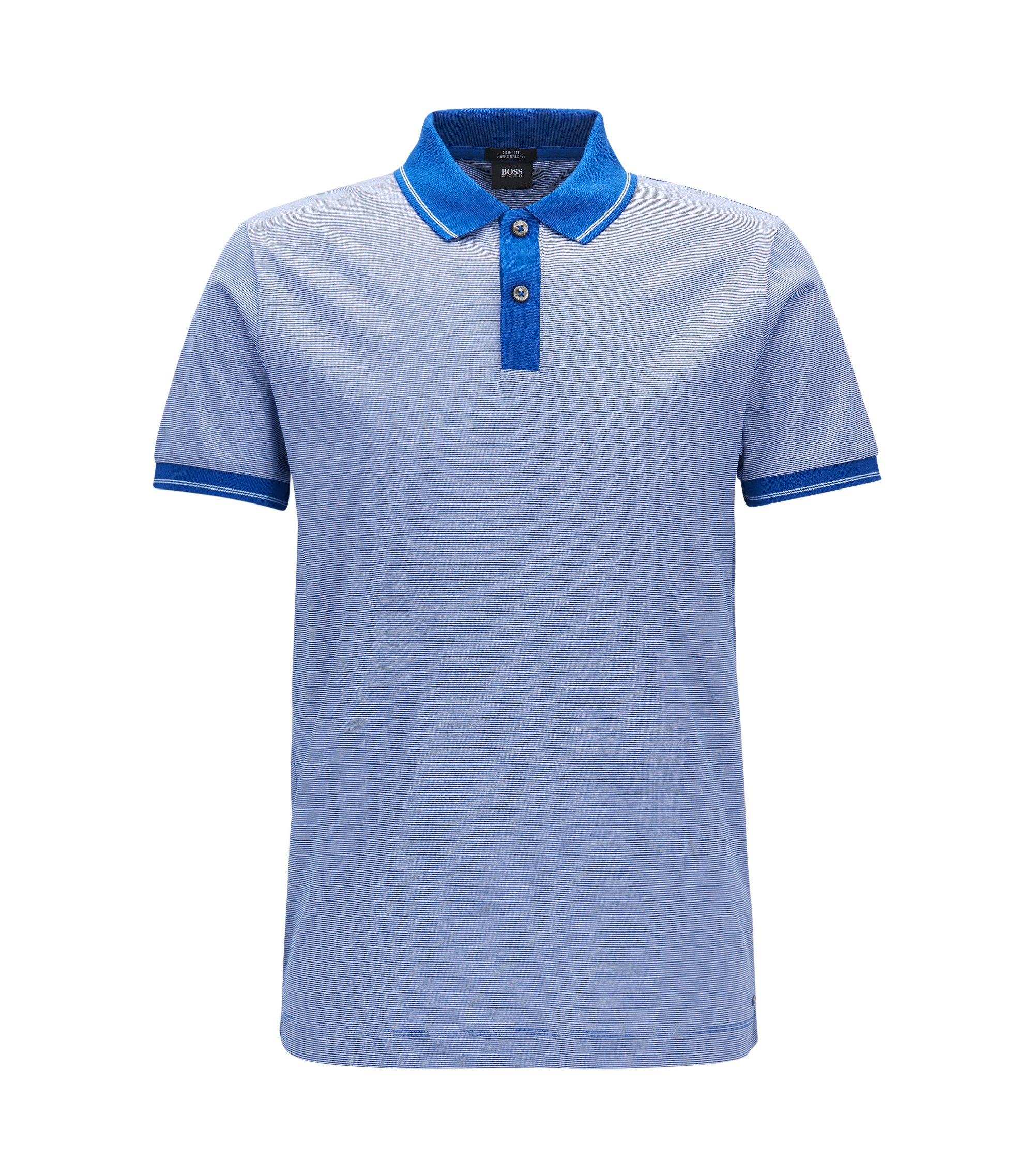 Mercerized Cotton Polo Shirt, Slim Fit | Phillipson, Open Blue