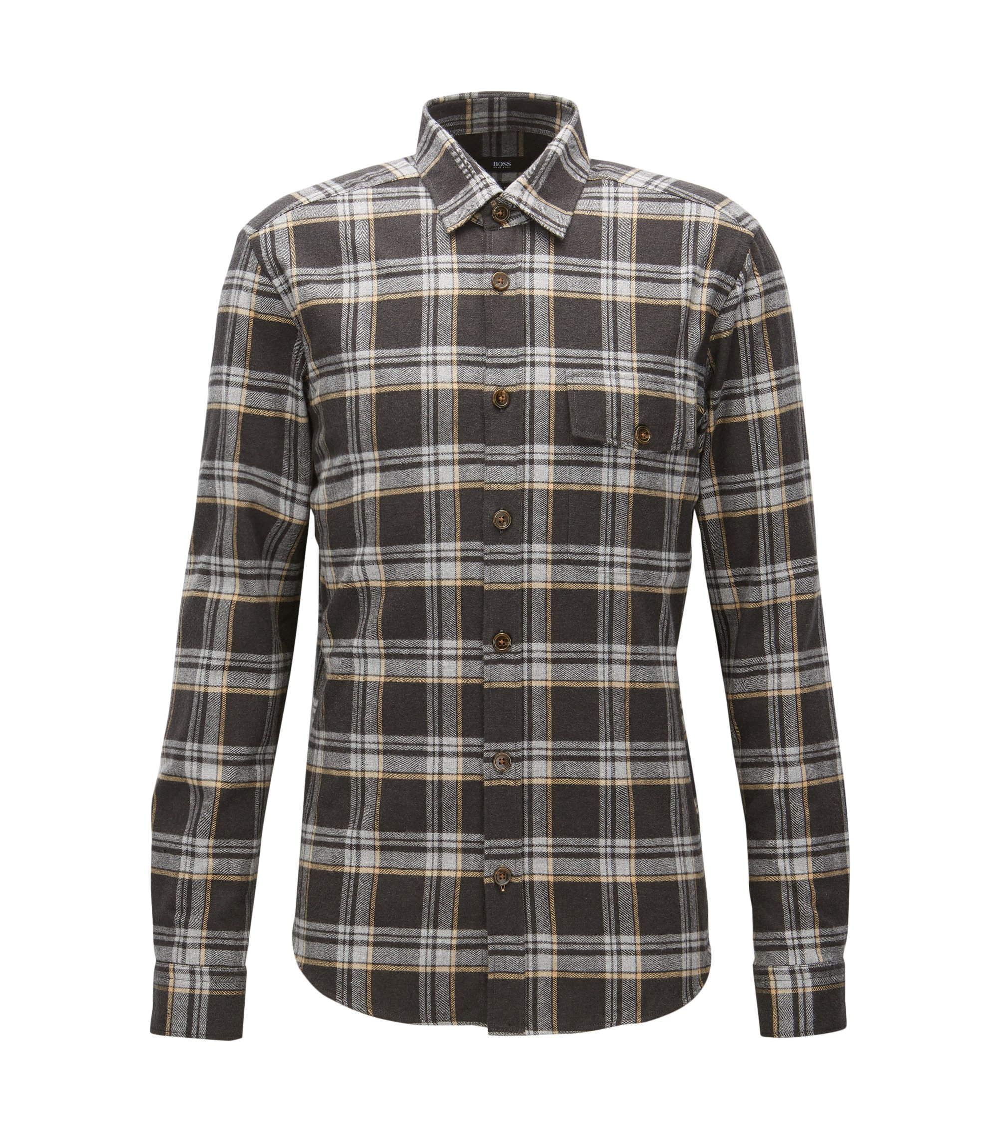 'Lalo' | Regular Fit, Plaid Cotton Button Down Shirt, Beige