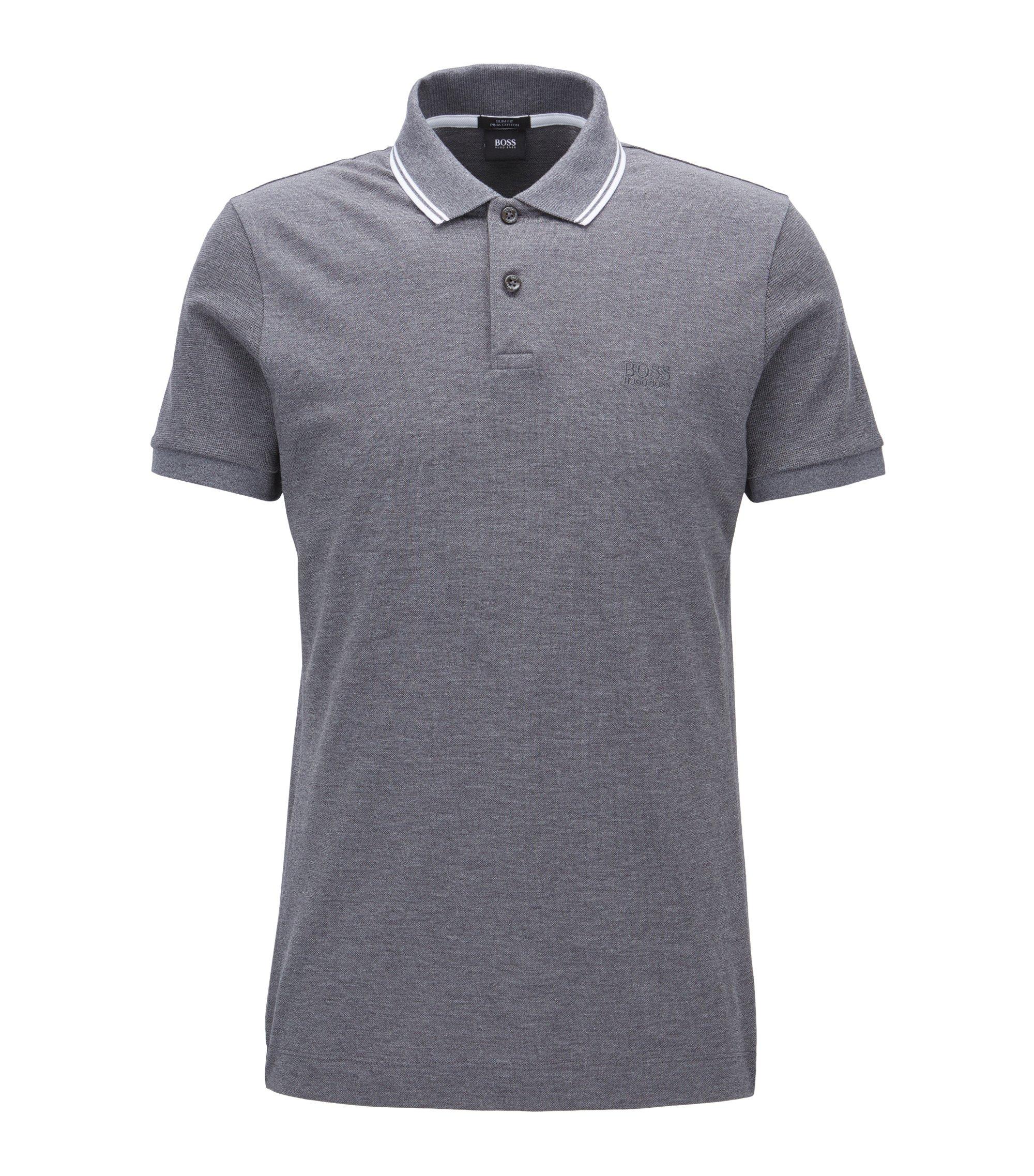 Piqué Pima Cotton Polo Shirt, Slim Fit | Phillipson, Grey