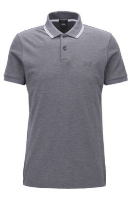 Piqué Pima Cotton Polo Shirt, Slim Fit | Phillipson, Grey