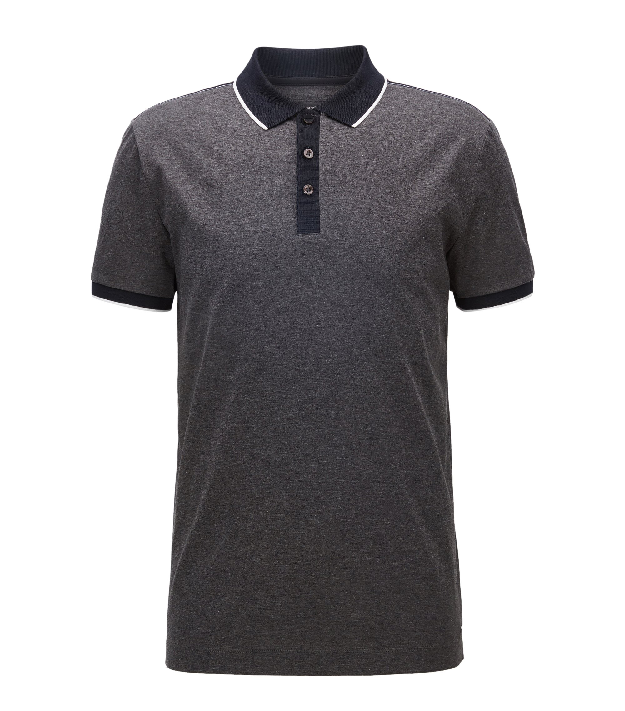 Coloblocked Cotton Polo Shirt, Slim Fit | Phillipson, Charcoal