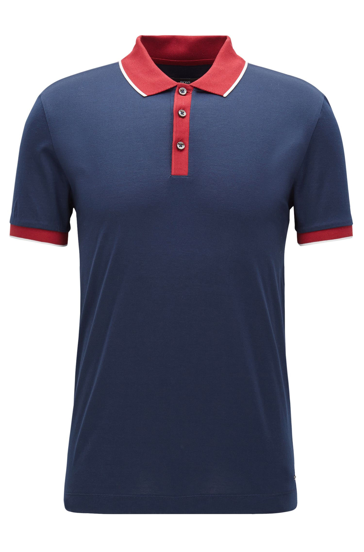Coloblocked Cotton Polo Shirt, Slim Fit | Phillipson, Dark Blue
