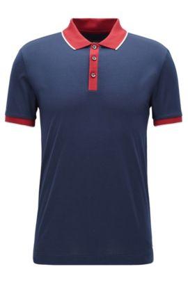 'Phillipson' | Coloblocked Cotton Polo Shirt, Dark Blue