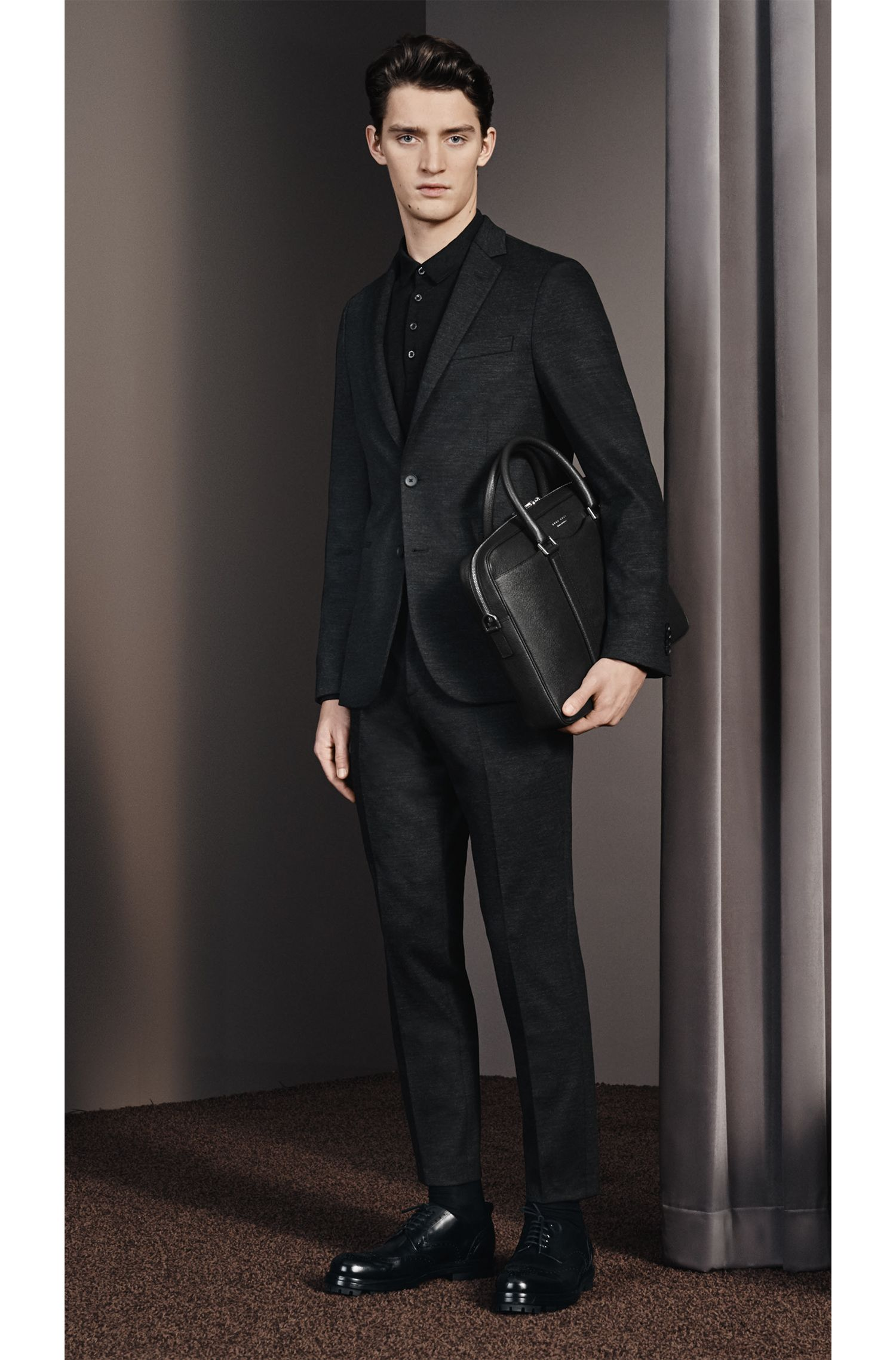 Piqué Cotton-Virgin Wool Polo Shirt, Slim Fit | T-Pointer, Black