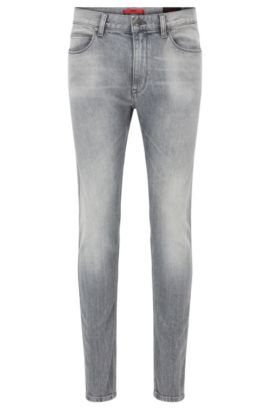 Stretch Cotton Jeans, Skinny Fit | Hugo 734, Silver