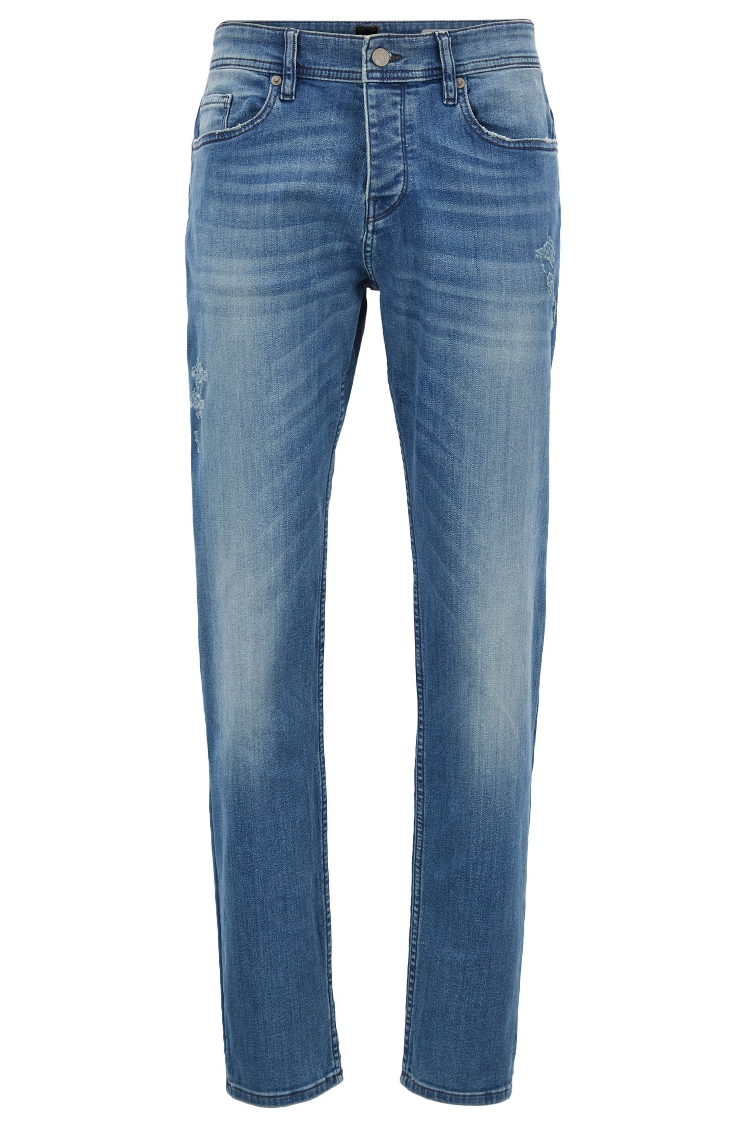 12 oz Stretch Cotton Jeans, Tapered Fit | Orange 90