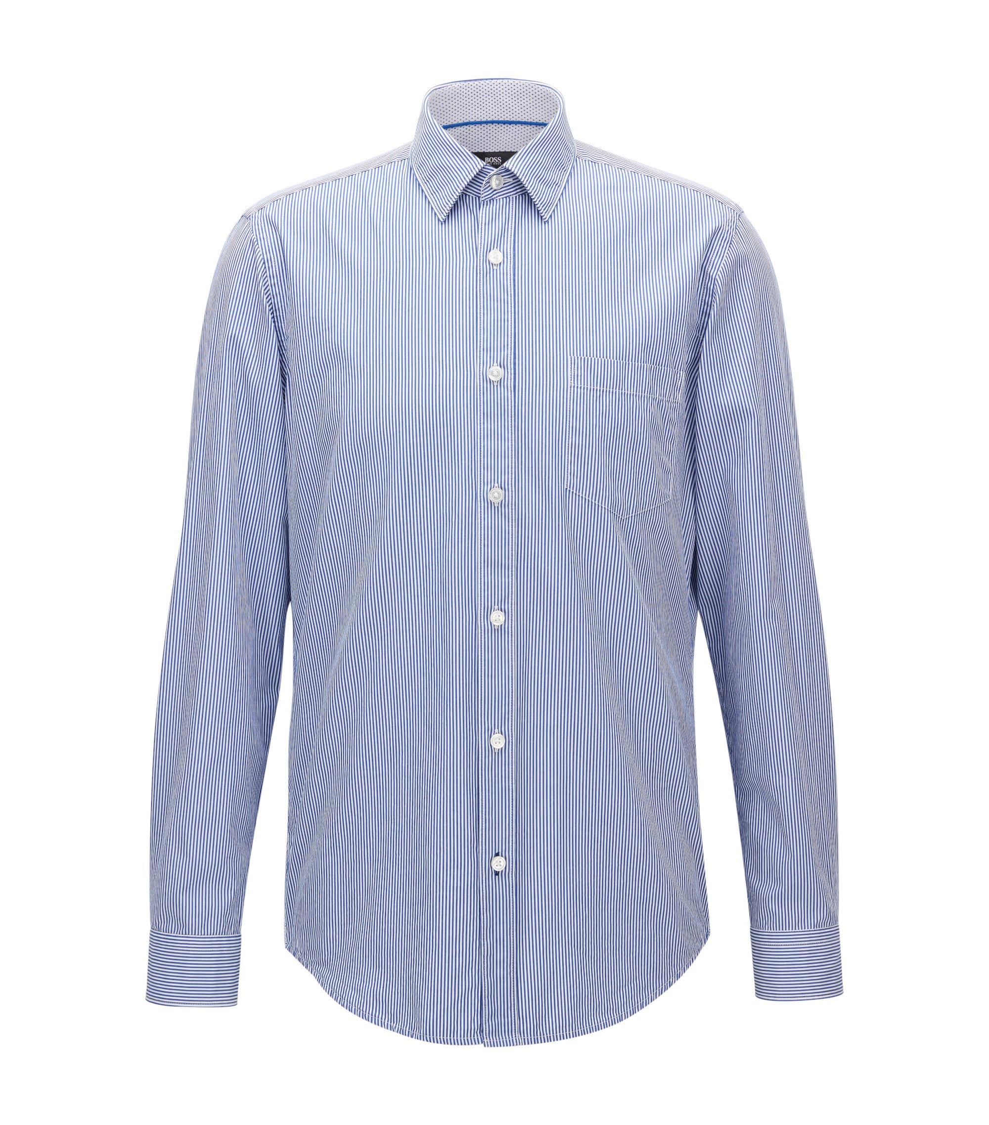 Pinstripe Cotton Poplin Button Down Shirt, Regular Fit | Lukas, Open Blue