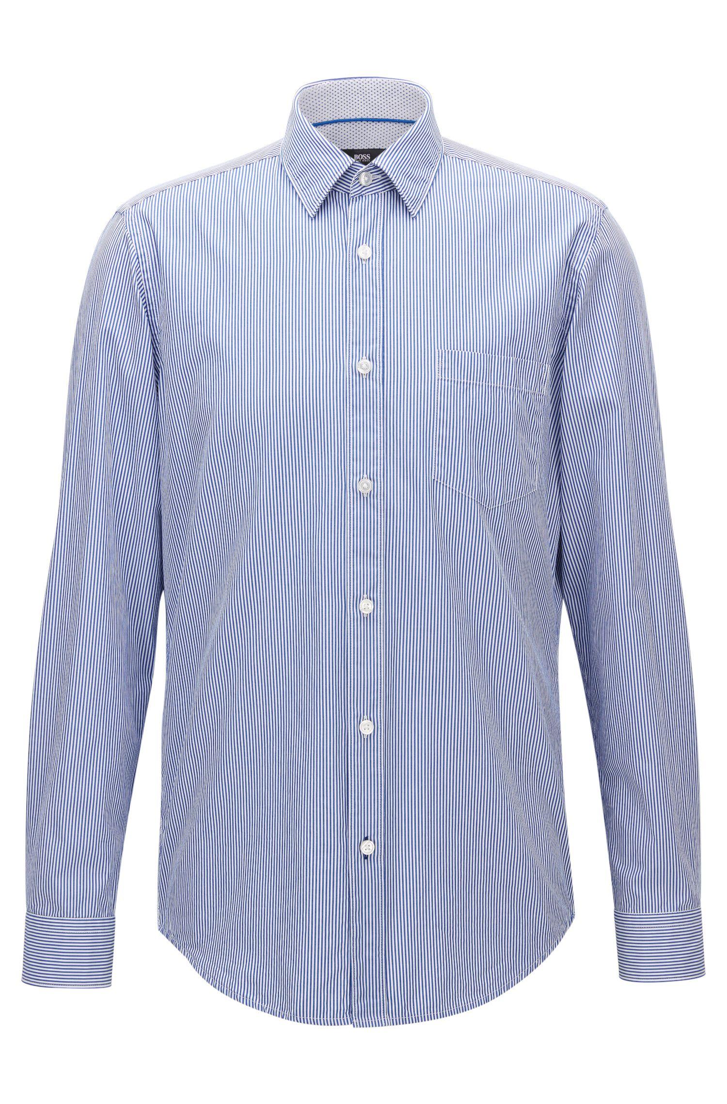 Pinstripe Cotton Poplin Button Down Shirt, Regular Fit | Lukas, Open Blue