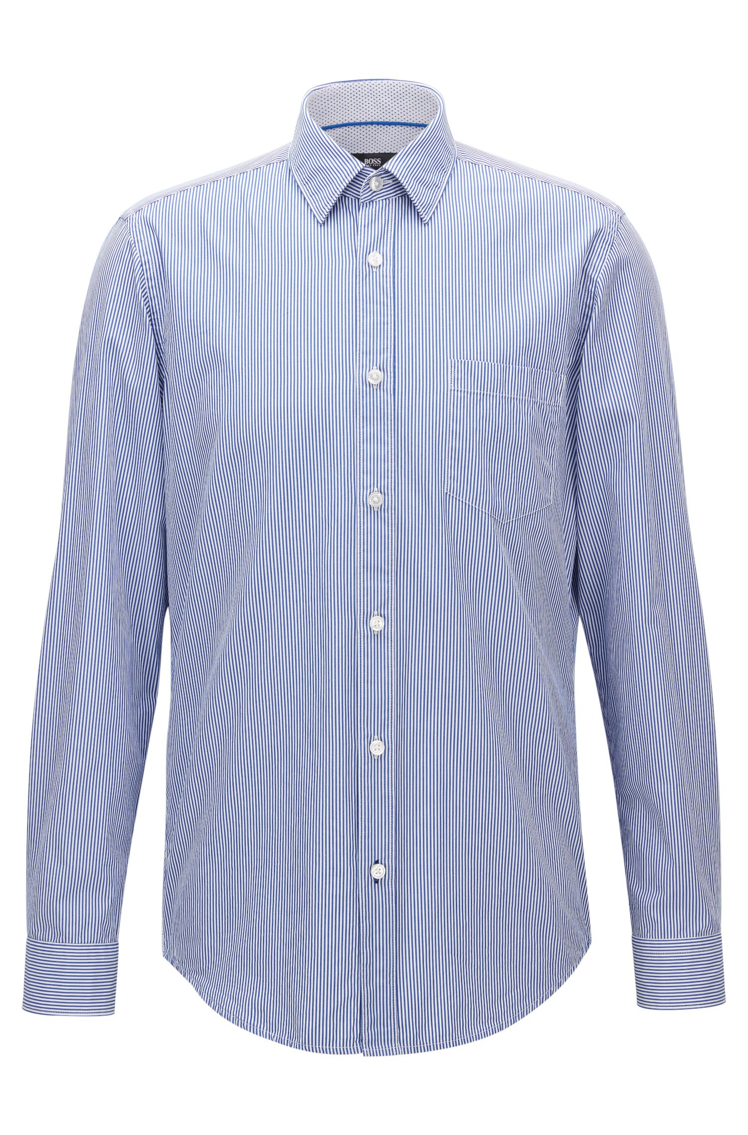 Pinstripe Cotton Poplin Button Down Shirt, Regular Fit | Lukas