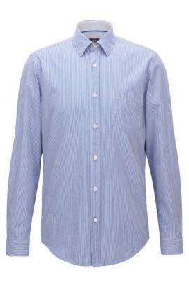 'Lukas' | Regular Fit, Pinstripe Cotton Poplin Button Down Shirt, Open Blue